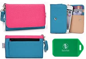 Ladies *Metro series* Aqua Blue/Hot Pink Universal Wristlet Walletfor BlackBerry Curve 8520 GSMáCelláPhone