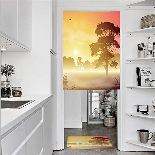 Definition Intense Treatment - 3D Printed Linen Textured French 1 Panel Door Curtains and 1pcs Doormat Kitchen Mat Rug,Landscape in Intense Sun Beams Woodland MagicalSingle Panel door curtain 31.5