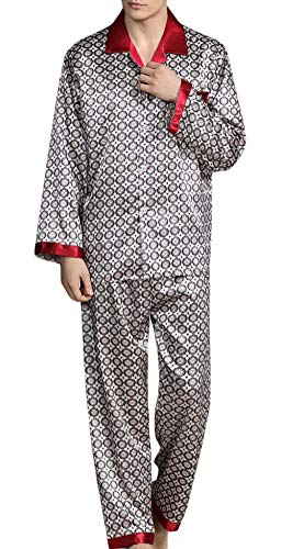 YIMANIE Mens Silk Satin Pattern Pajamas Set Classic Sleepwear Loungewear Long Sleeve Nightwear Set Sleep Shirt & Sleep Pant (Shirt Pajamas Pants)