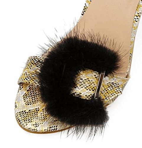 Black Hair Roman Talon Sandales Haut Hollow Stiletto Talons Dames Femmes Party LINYI RaxqP16