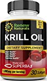 Renew Naturals 100% Pure Antarctic Krill Oil Capsules 1000mg Serving w/Astaxanthin – Supports Healthy Heart Brain Joints – Omega 3 Highest Quality Supplement – 30 Softgels. 100% Money Back Guarantee!