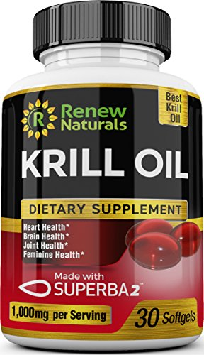 Renew Naturals Antarctic Krill Oil 1000 mg Serving with Omega-3s EPA DHA and Astaxanthin, Supports Healthy Heart Brain Joints 30 Softgels 100% Money Back Guarantee!