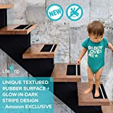 NEW LifeGrip Textured Rubber Surface + Green Glow-in-Dark Stripe Anti-slip Safety Stair Treads/Tape -Black/Green-Comfortable for bare foot - 12 Pieces (6''X24'')-TAPE ROLLER INCLUDED