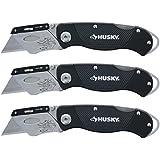 Husky Folding Sure-Grip Lock Back Utility Knives Multi Pack (3 Piece Set: 3 x Husky Knives w/ Blades) (Colors Vary)