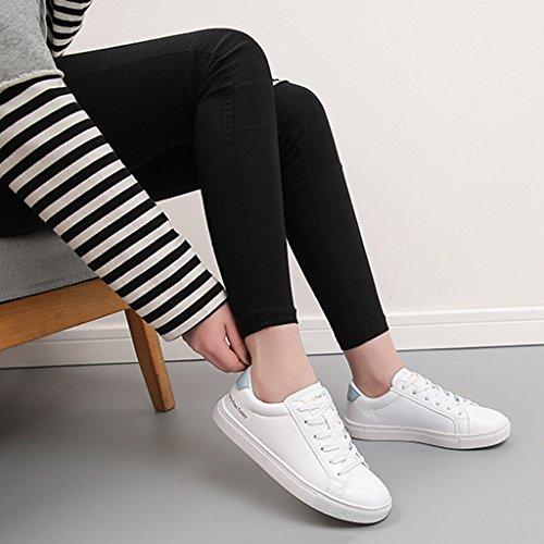 Mode Chaussures Femmes Plates de Sport Chaussures Lace Respirantes Blue Blanches Chaussures Skate de Up de décontractées 0q0FxaH