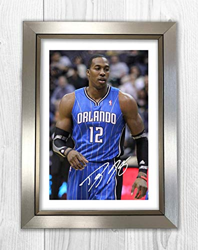 Engravia Digital Dwight Howard (1) Washington Wizards NBA Reproduction Autographed Poster Photo A4 Print(Silver Frame) ()
