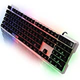 SADES K7 104 Keys LED USB Gaming Keyboard 7 Colors Backlight for Computer Laptop PC (White)