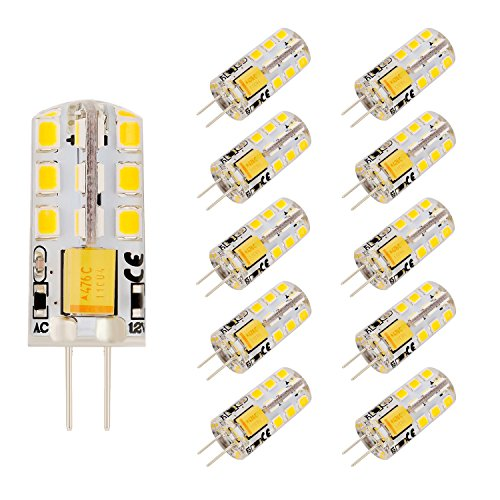 Bogao 10 PACK G4 24 2835 SMD LED 350LM Light Crystal Bulb Lamps 4 Watt AC / DC 12V Equivalent to 30W Incandescent Bulb Replacement Halogen Bulbs ( Warm White 3000K - Lamp Ac Incandescent 12v