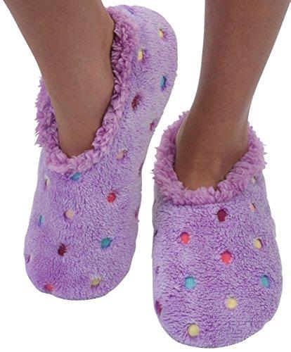Snoozies Womens Lotsa Dots Colorful Cozy Sherpa Non Skid Slipper Socks - Lavender, Large