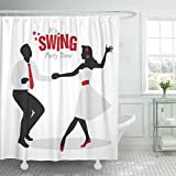 Emvency Shower Curtain Black Dance Swing Party Time Silhouettes of Young Couple Wearing Retro Dancing Lindy Hop White Vintage Shower Curtain 72 x 72 Inches Shower Curtain with Plastic Hooks