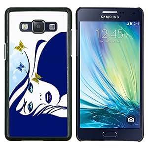 KLONGSHOP // Cubierta de piel con cierre a presión Shell trasero duro de goma Protección Caso - Muchacha de la mariposa azul - Samsung Galaxy A5 A5000 //