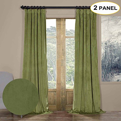 Artdix Blackout Curtains Panels Window Drapes - Perennial Green 50W x 96L Inches (2 Panels) Velvet Lined Back Tab Nursery Insulated Solid Thermal Custom Curtains For Bedroom, Living Room, Kids Room