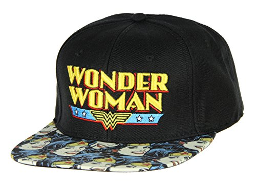 Bioworld Official Snapback- Wonder Woman Vintage Faces Bill DC Comics Hat Black