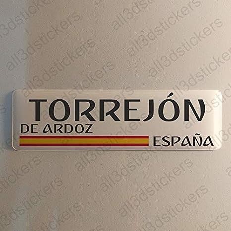 Pegatina Torrejon de ardoz España Resina, Pegatina Relieve 3D Bandera Torrejon de ardoz España 120x30mm Adhesivo Vinilo: Amazon.es: Coche y moto