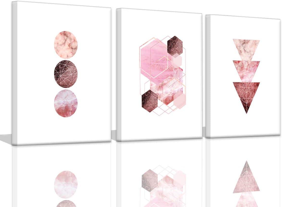 circle painting girls bedroom decor Brown Pink Geometric Wall Art pink circle painting art brown painting pink wall art