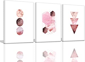 Rose Gold Wall Decor for Bedroom Girls Room Wall Prints Abstract Geometry Art Print Mid Century Modern Decor Art Pink Wall Pictures for Women Bedroom Stretched Wall Decorations for Kitchen Office