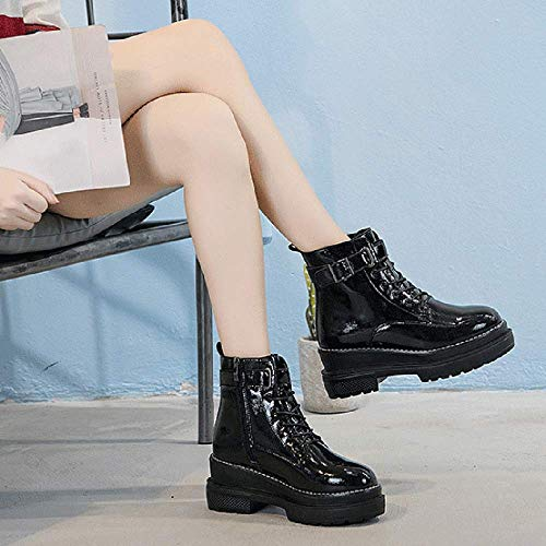 Black Martin Aire Gruesos Calzado Botines Botas Invierno Al E Cuero Libre Mujer De Fondos Para Otoño Deportivo agBa1nqS