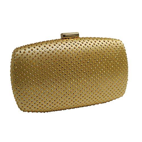 Gold Hard Bags Case Evening Clutch DMIX Womens Party xBw8nTq0q
