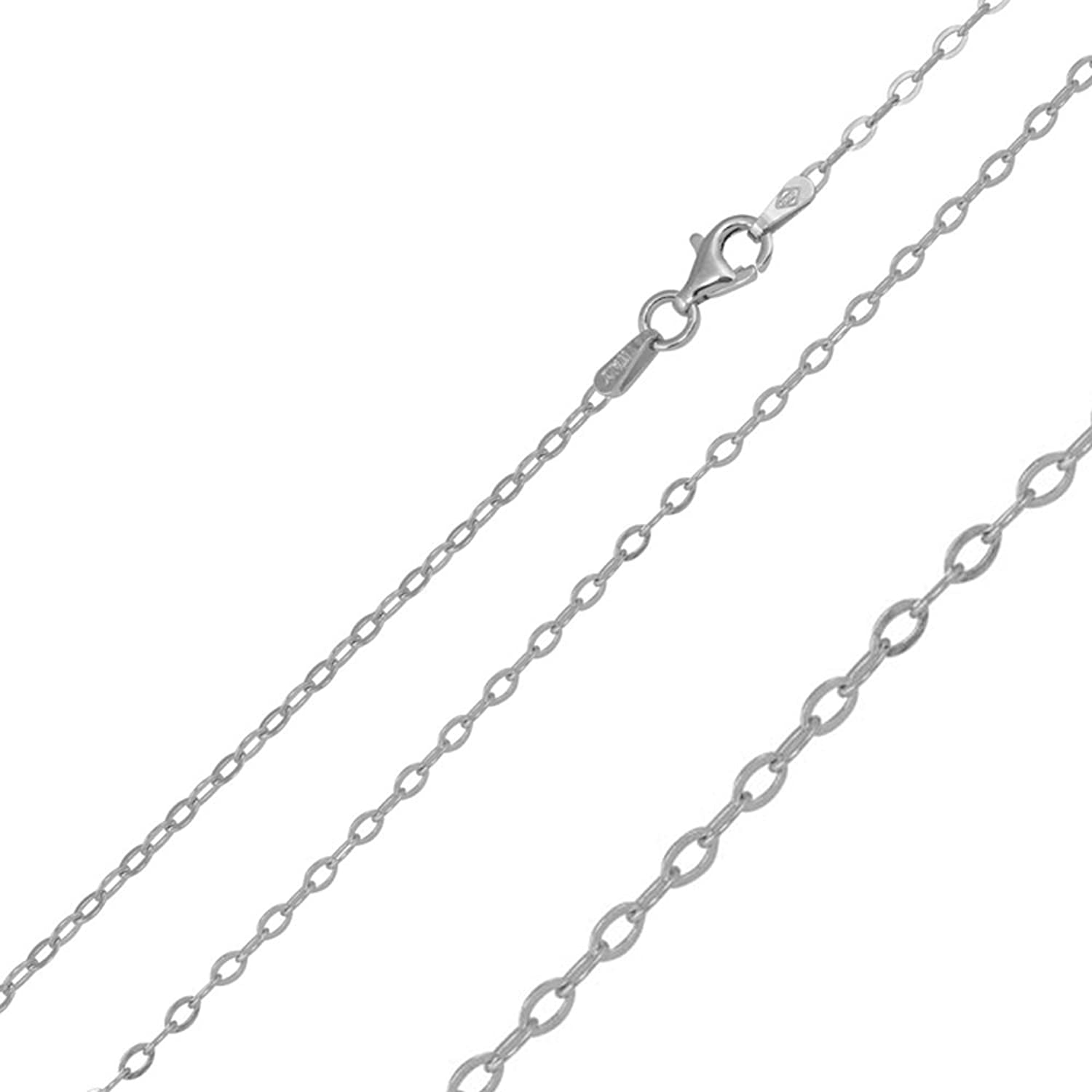 1.9mm Sterling Silver Italian Necklace Rhodium Plated Oval Flat Link Chain (16, 18, 20 Inch)