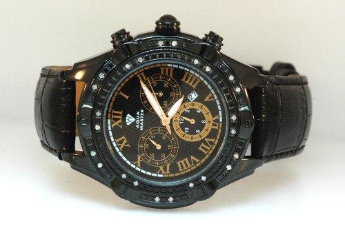 Aqua Master Mens Diamond Black PVD case watch 0.15ctw Orange Dial by Aqua Master
