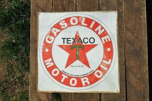 TEXACO Motor Oil ~ The Texas Company Vintage Tin Metal Sign