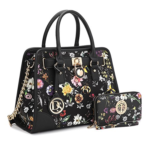 MMK collection Women Fashion Pad-lock Satchel handbags with wallet(2553)~Designer Purse for Women ~Multi Pocket ~ Beautiful Designer Handbag Set(01-6892w-bkf) ()