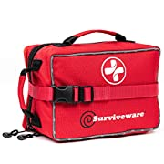 #LightningDeal Surviveware Large First Aid Kit for Extended Camping Trips, Cars, Boats, Trucks, Office, Home and Family Use with Bonus Mini Kit
