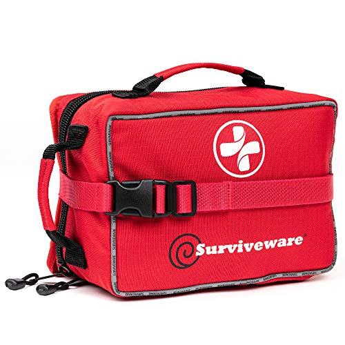 Surviveware Large First Aid Kit for Extended Camping Trips, Cars, Boats, Trucks, Office, Home and Family Use with Bonus Mini - Kit Emergency First Preparedness Aid