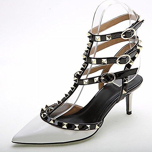SHOEES Los Zapatos de Las Mujeres, Color Sólido Puntiagudo Occidental 3 con un Remache Zapatos de Charol, Zapatos de Tacón Alto de Moda de Las Mujeres Mi