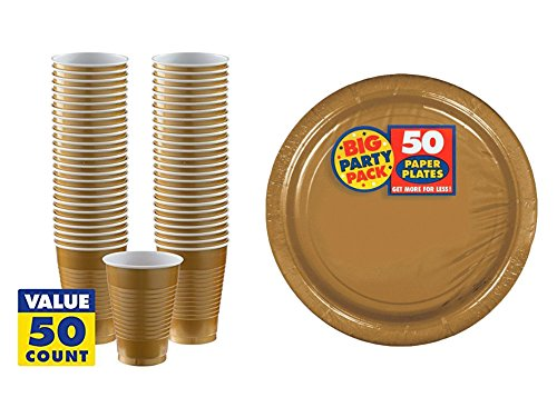 Pack of 50 Amscan Big Party Pack Gold 16oz Plastic Cups and Pack of 50 Amscan Big Party Pack Gold 10in Plastic Dinner Plates bundled by Maven Gifts