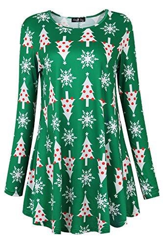 FULVM Women Party Wear Bodycon Long Sleeve Tunic Christmas Tree XL]()