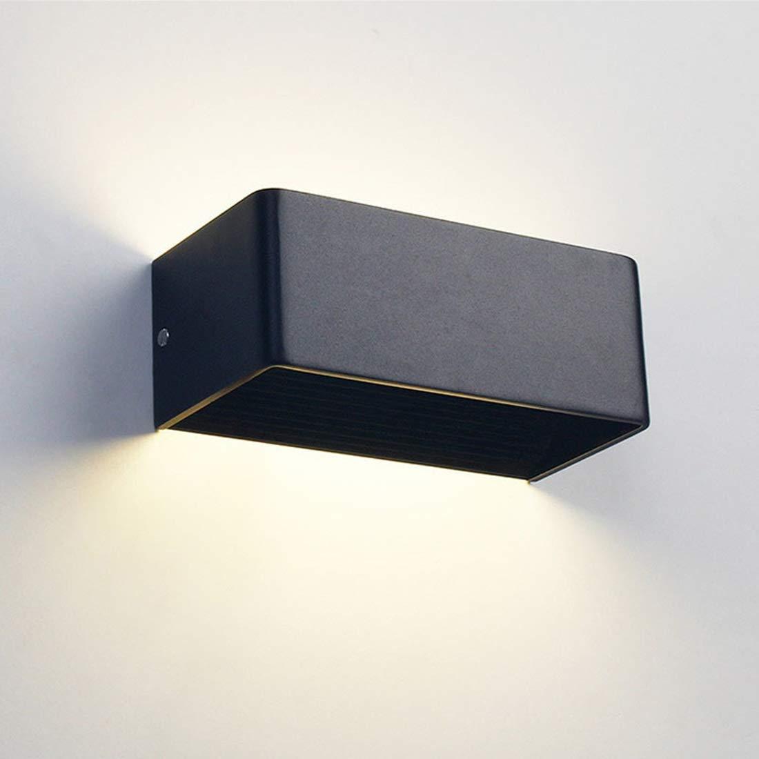 Cvthfyky Applique a LED su e giù Applique a parete per interni Applique moderne a luce bianca calda (Colore   nero-S)