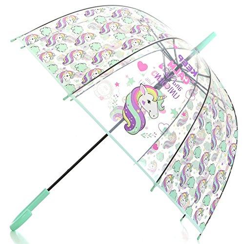 Dome Bubble Umbrella - Artiron Unicorn Clear Umbrella Bubble Fashion Dome Auto Open Transparent Umbrella for Outdoor Weddings Windproof(Green)