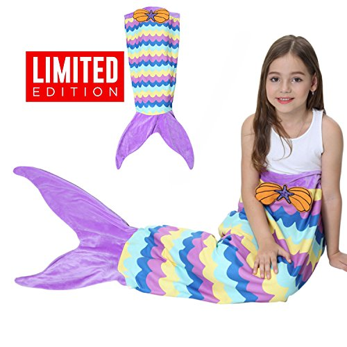 Kids Mermaid Tail Blanket Gilrs Fleece Sleep Bags,Halloween Mermaid Princess Costume Dress,Kids' Bedding Toys Comforter Quilts for Sofa,Home,Indoor,Travel,Camping Birthday Christmas Gift(Purple (Three Way Halloween Costumes)