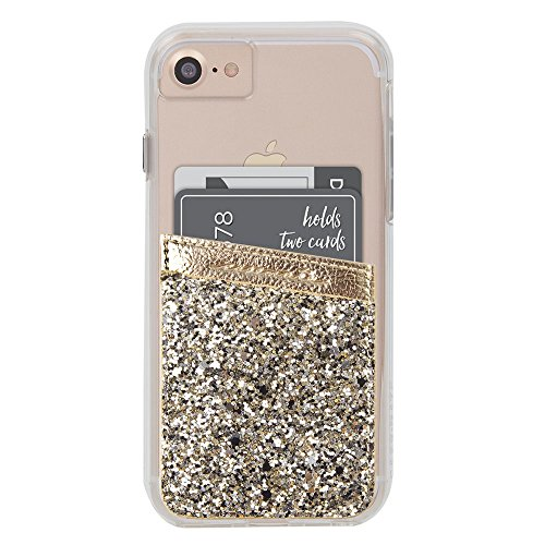 Case-Mate - Stick On Credit Card Wallet - POCKETS - Ultra-slim Card Holder - Universal fit - Apple  iPhone  Samsung  Galaxy - and more - Champagne Glitter