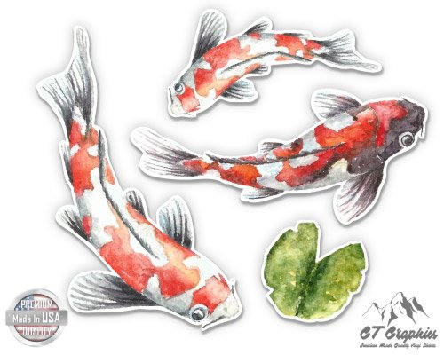 "Koi Pond Fish Pretty Set - 4"" Vinyl Sticker - For"