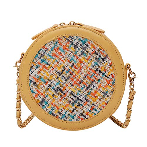 Weave Yellow Necklace - Ikevan_ Handmade Weave Crossbody Shoulder Messenger Bag Color Stitching Jewelry Earring Necklace Purse Handbag for Lady Girl Women (Yellow)