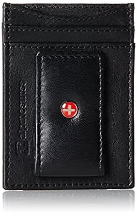 Alpine Swiss Genuine Leather Money Clip front pocket wallet with magnet clip and card ID Case, Black