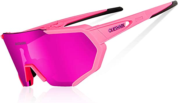 Queshark Gafas De Sol Polarizadas para Ciclismo con 3 Lentes Intercambiables UV400 MTB Bicicleta Montaña (Rosado): Amazon.es: Deportes y aire libre