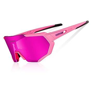 993a2a8862 Queshark Gafas De Sol Polarizadas para Ciclismo con 3 Lentes  Intercambiables UV400 MTB Bicicleta Montaña (Rosado): Amazon.es: Deportes y  aire libre