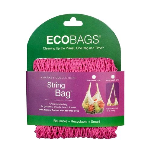 (ECOBAGS Market Collection String Bags Long Handle, Fuchsia)