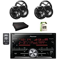 Pioneer Vehicle Digital Media 2DIN Receiver W/Bluetooth with JVC 6.5 Inch Car Audio 2-Way Coaxial Speakers System 2-Pairs, JVC 4-Channel Power Amplifier and Enrock Amplifier Wiring Installation Kit.