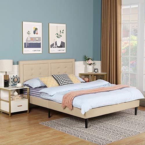 VECELO Upholstered Platform Bed Frame