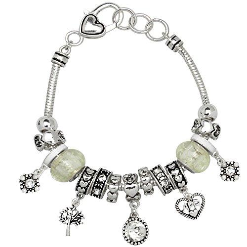 Clear Bead Rhinestone Bracelet - Falari Birthstone Bracelet Multi-Color Charm Beads Silvertone April OB07234-APR