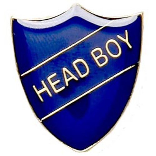 Head Boy Enamelled School Metal Shield Pin Badge In Blue