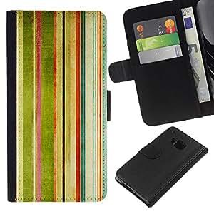 HTC One M7 , la tarjeta de Crédito Slots PU Funda de cuero Monedero caso cubierta de piel ( Stripes Painting Watercolor Rainbow Art)