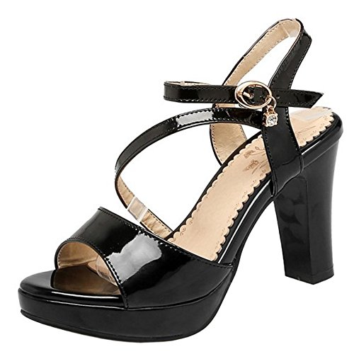 FANIMILA Mujer Moda Tacon Ancho Alto Sandalias Plataforma Correa de Tobillo Skirts Zapatos Negro
