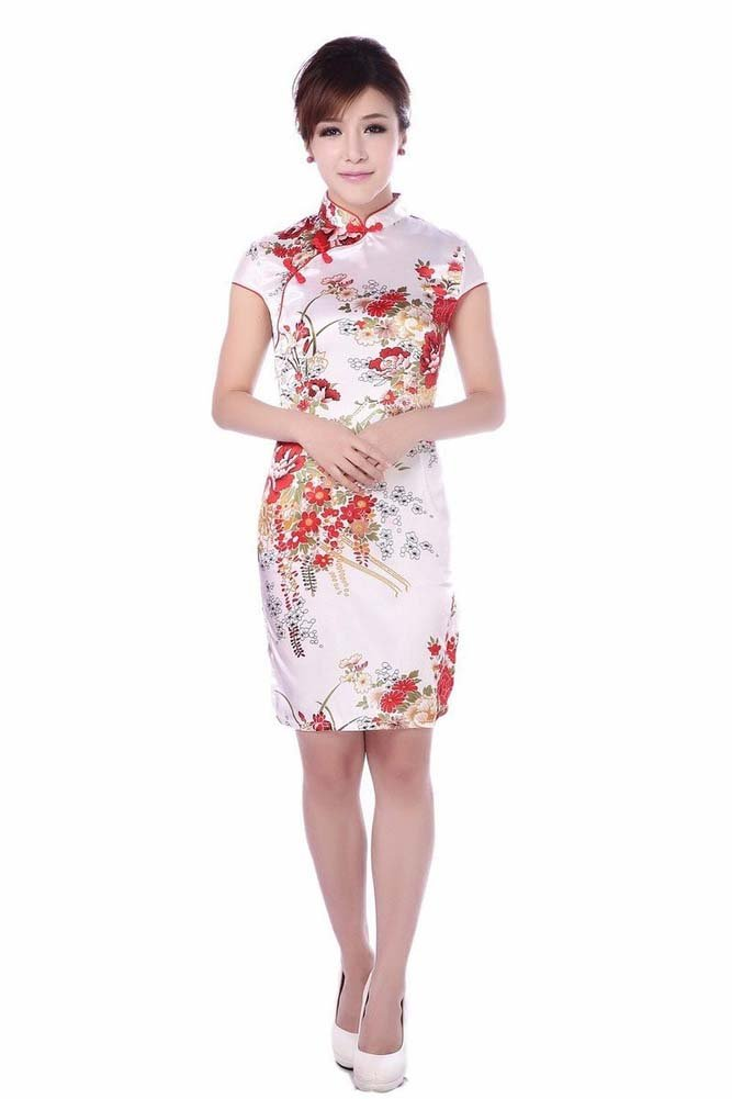 AvaCostume Women's Gorgeous Floral Wedding Knee Length Qipao Mini Dress Classical Size US 12 White