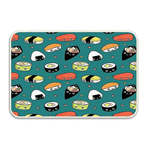 Let's Sushi! Doormat 16x24 Rubber Non Skid Rug Living Room Bathroom Nursery Home Decor Entryway Floor Carpet