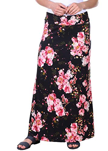 Popana Womens Casual Long Convertible Print Maxi Skirt Plus Size - Made in USA DT13 2X